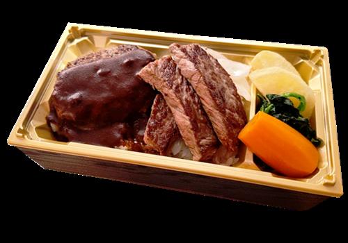 風舎ハンバーグ&国産牛ステーキ弁当
